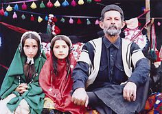 Father and his daughters, Bakhtiari Tribe, Iran