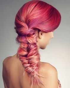 Pink ombre hair in a fish tail braid Hair Colorful, Bright Hair Colors, Colours, Multicolored Hair, Bright Pink, Love Hair, Gorgeous Hair, Ombre Hair, Magenta Hair
