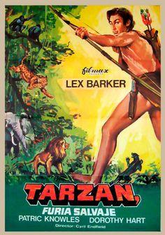 Tarzan Actors, Tarzan Movie, Fantasy Authors, Fantasy Movies, Cinema Posters, Film Posters, Lex Barker Tarzan, Tarzan Of The Apes, Film Poster Design