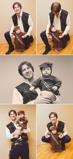 Han Solo and Chewbacca - Dad and Son Halloween Costumes Father Son Costumes, Baby First Halloween Costume, Family Halloween Costumes, Boy Costumes, Halloween Kostüm, Halloween Cosplay, Zombie Costumes, Group Halloween, Homemade Halloween