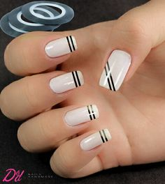 Best Gorgeous Strips Tape Line Nails Design for Summer - Diaror Diary - Page 15 ♥ 𝕴𝖋 𝖀 𝕷𝖎𝖐𝖊, 𝕱𝖔𝖑𝖑𝖔𝖜 𝖀𝖘!♥ ♥ ღ Hope you like this collection Cute strips tape line nails design collection ! ღ 𝘾𝙪𝙩𝙚 𝙨𝙩𝙧𝙞𝙥𝙨 𝙩𝙖𝙥𝙚 𝙡𝙞𝙣𝙚 Line Nail Designs, Tape Nail Art, Lines On Nails, Stylish Nails, Nail Art Hacks, Fabulous Nails, French Nails, French Pedicure, Simple Nails