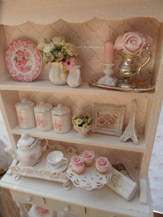 dollhouse 1:12 scale shabby chic kitchen hutch, via Etsy.