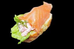 Smoked salmon with carp roe cream canapes by Mr Fresh Eat Happy, via Flickr