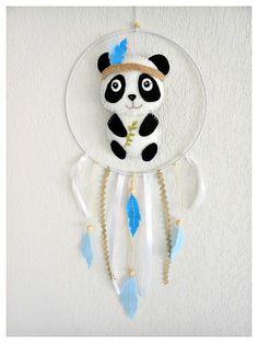 Attrape-rêves Panda pour décoration chambre de bébé ou d'enfant Idée cadeau naissance baptême anniversaire : Décoration pour enfants par histoire-de-pitchouns