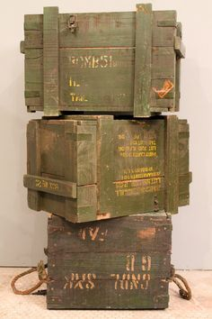 Vintage Green Distressed Army Crate Storage Trunk Side Table