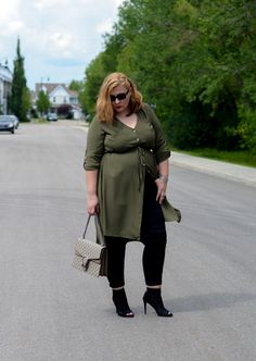 Shirt dress with pants outfit, Addition Elle, Gucci bag, Stuart Weitzman boots, edgy, summer trend, plus size, curvy fashion blogger,