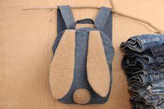 Rabbit backpack, bunny backpack , upcycled denim backpack , jeans kids toddler backpack , funy backpack , denim bag , childrens backpack by SecondBirthday on Etsy