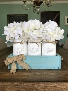 Vintage Aqua Mason Jar Centerpiece – Stacy Turner Creations
