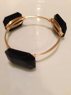 Black onyx gold wire wrap bangle bracelet by LuELsDecor on Etsy, $12.99