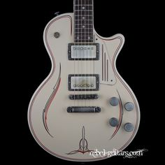 James Trussart Cream Pinstripe SteelDeville with Dragon Back   Rebel Guitars