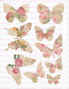 Buegelbild-Schmetterling-fruehling-farbig-Shabby-Rosen-Bume-A4-NO-1592 Butterfly Crafts, Butterfly Art, Butterflies, Vintage Clipart, Vintage Cards, Diy Arts And Crafts, Cute Crafts, Paper Art, Paper Crafts