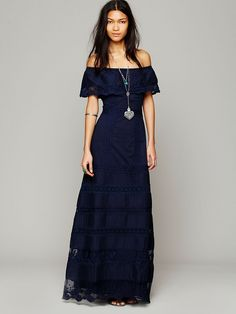 Maria Sophia Black Lace Off The Shoulder Maxi Dress -- no idea ...