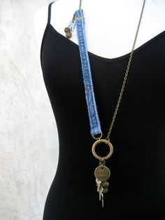 Denim Assemblage Necklace  Charm Necklace  Key by PieceLust, $35.00