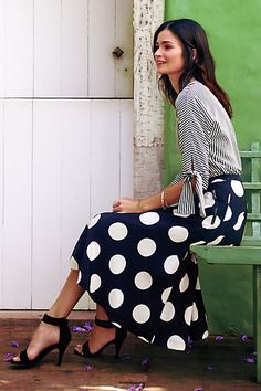 Deco Dot Midi Skirt #anthropologie #anthrofav