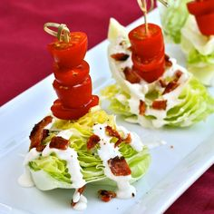Individual blue cheese and crispy bacon salads.A good idea for Xmas.