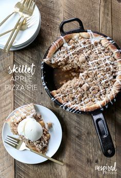 Skillet Apple Pizza Pie | Inspired by Charm   If you're a fan of apple pie, but dread making crust, this recipe is for you. It's the perfect combination of pie meets pizza. It's a really thick pie with a soft crust and delicious crumb topping.