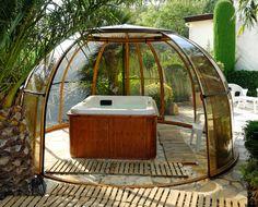 Gallery of hot tub enclosure Spa Dome Orlando installations - high quality retractable hot tub enclosure Hot Tub Gazebo, Hot Tub Backyard, Gazebo Pergola, Backyard Pools, Pool Decks, Backyard Landscaping, Jacuzzi, Garden Igloo, Round Hot Tub
