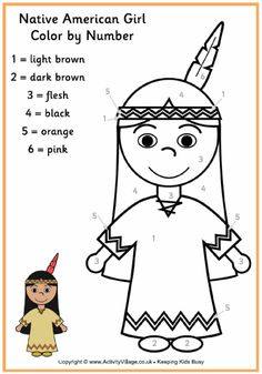 color by numbers indians worksheet (2)