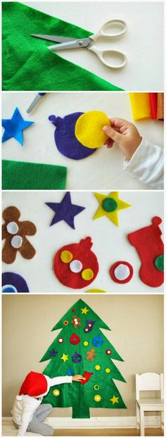 """Felt Christmas Tree: Cut a big tree out of felt. Felt sticks to itself, so kids can redecorate """"their"""" tree all season long without worrying about breaking ornaments. Bringing it out every year is a sweet family tradition."""