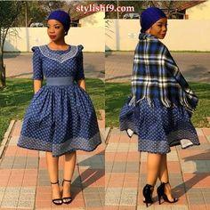 Amazing Shweshwe Print Gown For Women 2019 ShweShwe 1 Setswana Traditional Dresses, Venda Traditional Attire, South African Traditional Dresses, Traditional Wedding Attire, Traditional Weddings, Seshweshwe Dresses, African Wear Dresses, Latest African Fashion Dresses, African Print Fashion