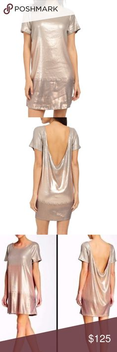 Free People Rose Gold Ombré Sequin Dress A loose, sequined Free People pullover dress with a liquid drape. Wide neckline and deep scoop back. Short sleeves. Unlined. Fabric: Sequined knit. 62% polyester/35% rayon/3% spandex. Hand wash or dry clean. I Measurements Length: 32in / 81cm, from shoulder Free People Dresses
