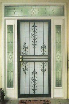 Pretty and functional iron security screen door