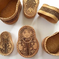 Birch Bark Russian Nesting Doll Trinket Boxes Unique and one of a kind handmade in Russia Nesting Doll boxes made of genuine birch bark. My guess is that the artist created them through the use of a burning method. All hand woven. Great condition! Wonderful for jewelry or any sort of accessories. Very rare item. Russia Other