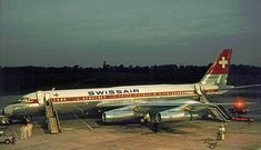 """Swissair Convair 990A Coronado (30A-6) HB-ICC """"St. Gallen"""" preparing for the return flight to Zürich-Kloten via Basel-Mulhouse at Manchester-Ringway, July 1964. (Photo: Courtesy of the R.A.Scholefield Collection)"""