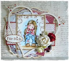 Sweet card by Tina with one of the new images from the latest Magnolia stamp club kit