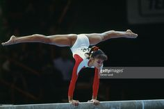 Betty Okino from USA in action on beam during 1992 World Championships.
