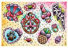 Vorssa Ink by Kata Puupponen Tattoo Flash Print Sheet