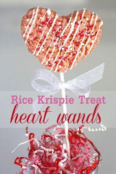Valentine's Day Treats   catchmyparty.com Rice Crispy Treats, Krispie Treats, Rice Krispies, Holiday Desserts, Holiday Treats, Holiday Fun, Valentines Day Treats, Kids Valentines, Funny Valentine