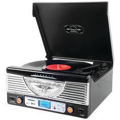 FREE SHIPPING ON ALL ITEMS! Built-in Bluetooth - Classic Record Player With Modern Technology - 3-speed Turntable - AM/FM Radio With Illuminated Dial - Vinyl-To-MP3 Recording To USB Flash Drive or SD