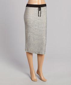 Look at this #zulilyfind! Black & White Stripe Midi Skirt by Faith and Joy #zulilyfinds