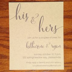 Couples Shower Invitations His and Hers by VeronicaFoleyDesign