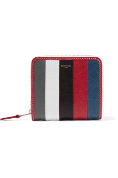 Balenciaga | Bazar striped textured-leather wallet | NET-A-PORTER.COM
