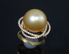 12mm South Sea Pearl Engagement Ring Diamonds by SteveleeJewelry, $1365.00
