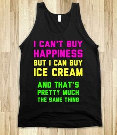 Happiness and Ice Cream - Text First - Skreened T-shirts, Organic Shirts, Hoodies, Kids Tees, Baby One-Pieces and Tote Bags