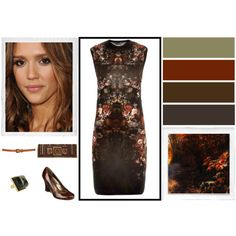 """Deep Autumn Outfit #1"" by yourbestcolors on Polyvore.  i think of jessica alba as a warm autumn, but the rest seems perfect."