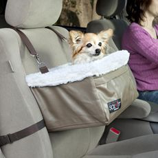 Have one of these booster seats for 3 years for my lil yorkie..best thing ever..he loves and can see out the window.