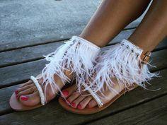 RiRiPoM Feather Sandals Greek Luxurious Sandals Bridal by RiRiPoM