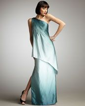 Kay Unger New York One-Shoulder Tiered Ombre Gown from Saks at 150 WORTH!