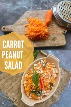 This Indian Carrot Peanut salad is fresh & zesty with the crunch of carrots & peanuts. Garnish with some Indian tadka/tempering. Salad Recipes Healthy Vegetarian, Vegetarian Salad Recipes, Easy Salads, Vegetarian Cooking, Healthy Salad Recipes, Healthy Snacks, Healthy Soups, Corn Salads, Summer Salads