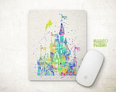 Sleeping Beauty Mouse Pad Castles Watercolor Art by MarcoFriend