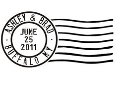Cancelled postage stamp custom rubber stamp for save the dates --5539