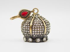 Domed Rhinestone Tassel Cap, Turkish Jewelry, Boho Jewelry, Tassel Finding, Tassel Pendant, Beaded Tassel Cap, Tassel Keyholder Finding