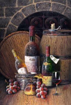 Vinos Decoupage Vintage, Vintage Art, Wine Painting, Fruit Painting, Wine Bottle Art, Wine Art, Painting Still Life, Still Life Art, Oil Painting Pictures