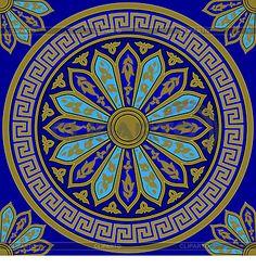 Бесшовные золотой греческий орнамент (Меандр) | Векторный клипарт | ID 4256279
