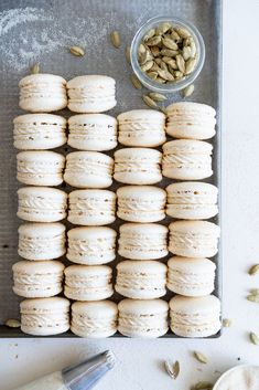Golden Sugar Macarons with Cardamom Cream Cheese Filling — Cloudy Kitchen - Lotta Ell New Oven, French Macaroons, Cupcakes, Gluten Free Treats, Cream Cheese Filling, Dessert Bars, Cooking, Desserts, Tips