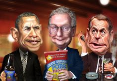 Obama, McConnell and Boehner - Toasting a possible future | by DonkeyHotey